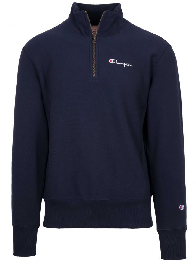 Reverse Weave Navy Blue Half Zip Sweatshirt