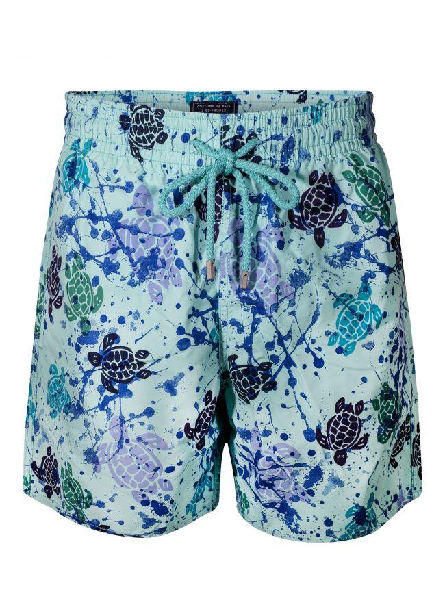 Moorea Lagoon Turtle Paint Swim Shorts
