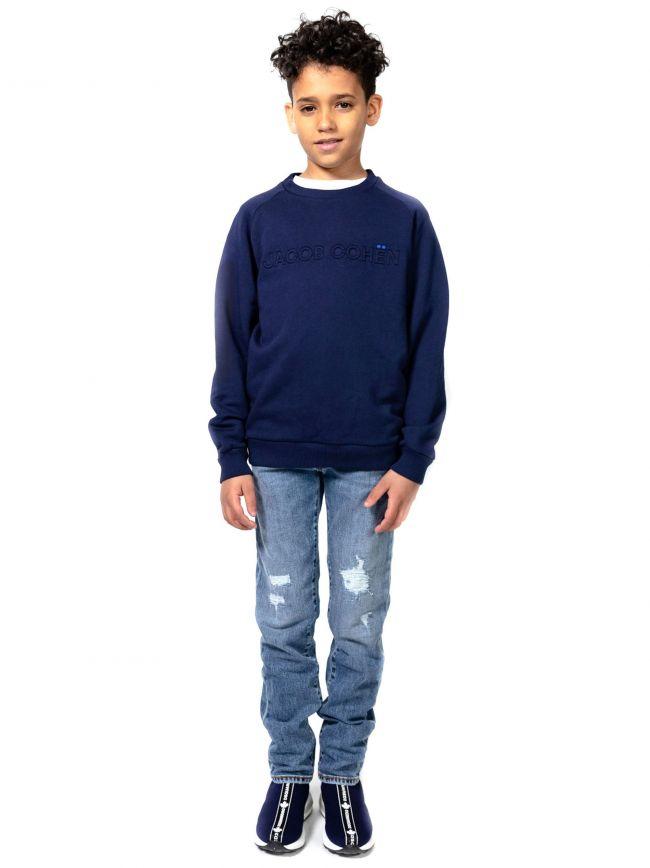 Jacob Cohen Kids Navy Embossed Sweatshirt