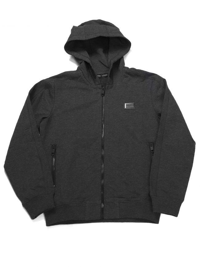 Antony Morato Kids Grey Plaque Hooded Zip Top