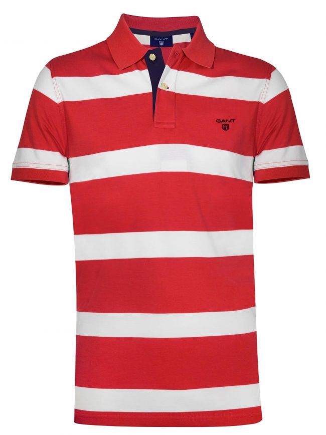 Red Block Striped Polo Shirt