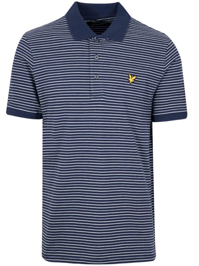 Navy Blue Fine Stripe Polo Shirt